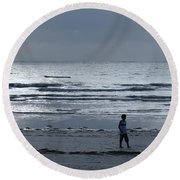 Morning Beach Walk On A Grey Day - Lone Dhow Round Beach Towel