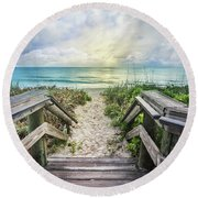 Round Beach Towel featuring the photograph Morning Blues At The Dune by Debra and Dave Vanderlaan