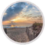 Morning Breaks Round Beach Towel by David Cote