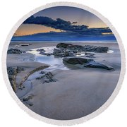 Round Beach Towel featuring the photograph Morning Calm On Wells Beach by Rick Berk