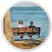 Morning Chat Round Beach Towel