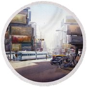 Morning City Street Round Beach Towel by Samiran Sarkar