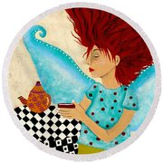 Morning Coffee And Fairy Freckles Round Beach Towel