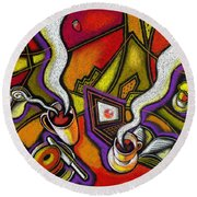 Round Beach Towel featuring the painting Morning Coffee And Internet by Leon Zernitsky