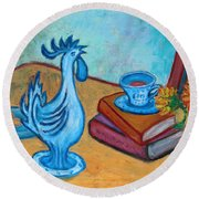 Round Beach Towel featuring the painting Morning Coffee Rooster by Xueling Zou
