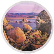 Morning Colors At Lake Pyramid Round Beach Towel