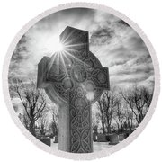 Round Beach Towel featuring the photograph Morning Cross by Guy Whiteley