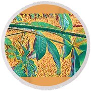 Morning Dew Drops In Puna Round Beach Towel