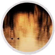 Round Beach Towel featuring the photograph Morning Ducks 2017 by Bill Wakeley