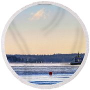 Morning Ferry Round Beach Towel
