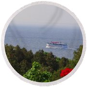 Morning Ferry To Mackinac Island Round Beach Towel