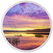Round Beach Towel featuring the photograph Morning Fire by Dmytro Korol