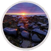 Morning Fire, Sunrise On The New Hampshire Seacoast  Round Beach Towel