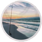 Round Beach Towel featuring the photograph Morning Fishing At The Beach  by John McGraw