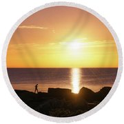 Round Beach Towel featuring the photograph Morning Fishing by Dmytro Korol