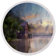 Round Beach Towel featuring the photograph Morning Fishing  by Joel Witmeyer