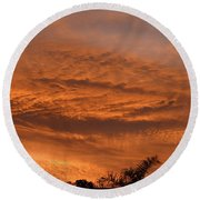 Round Beach Towel featuring the photograph Morning Flame by Mark Blauhoefer