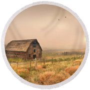 Round Beach Towel featuring the photograph Morning Flight by John Poon