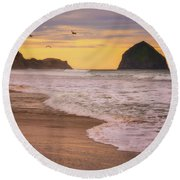 Round Beach Towel featuring the photograph Morning Flight Over Cape Kiwanda by Darren White