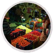 Round Beach Towel featuring the photograph Morning Flower Market Colors by Mike Reid