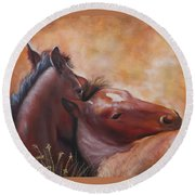 Morning Foals Round Beach Towel