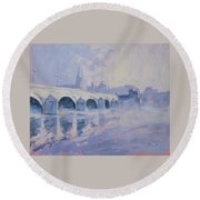 Morning Fog Around The Old Bridge Round Beach Towel