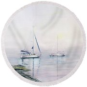Morning Fog  Round Beach Towel by Melly Terpening