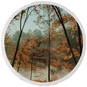 Round Beach Towel featuring the photograph Morning Fog At The River by Iris Greenwell