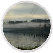 Morning Fog Round Beach Towel