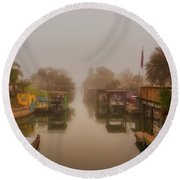 Round Beach Towel featuring the photograph Morning Fog  by Norman Peay
