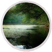 Round Beach Towel featuring the photograph Morning Fog by Okan YILMAZ