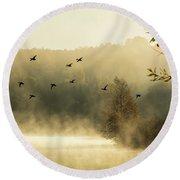 Morning Fog On Haley Pond In Rangeley Maine Round Beach Towel