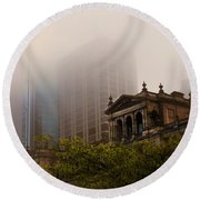 Morning Fog Over The Treasury Round Beach Towel