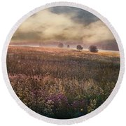 Round Beach Towel featuring the photograph Morning Fog by Vladimir Kholostykh