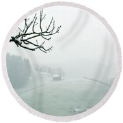 Round Beach Towel featuring the photograph Morning Fog - Winter In Switzerland by Susanne Van Hulst