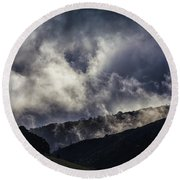 Morning Fog,mist And Cloud On The Moutain By The Sea In Californ Round Beach Towel