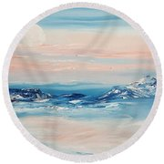Morning Full Moon Round Beach Towel