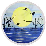 Round Beach Towel featuring the painting Morning Geese by Teresa Wing