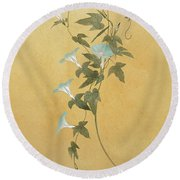 Morning Glories Round Beach Towel