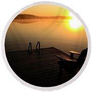 Morning Glory At The Lake Round Beach Towel