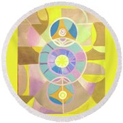 Morning Glory Geometrica Round Beach Towel