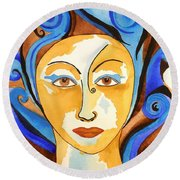 Morning Glory Goddess Round Beach Towel