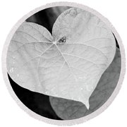 Morning Glory Heart Round Beach Towel