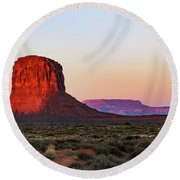 Morning Glory In Monument Valley Round Beach Towel