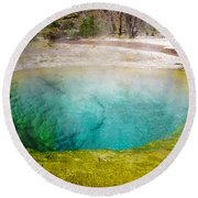 Morning Glory Pool Yellowstone National Park Round Beach Towel