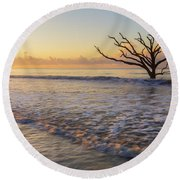 Morning Glow At Botany Bay Beach Round Beach Towel