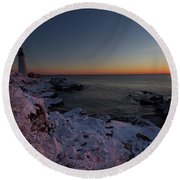 Morning Glow At Portland Headlight Round Beach Towel