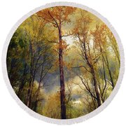 Round Beach Towel featuring the photograph Morning Glow by John Rivera