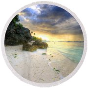 Morning Glow Round Beach Towel by Yhun Suarez