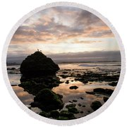 Round Beach Towel featuring the photograph Morning Gulls by Lora Lee Chapman
